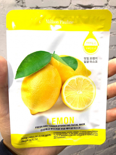 Тканевая маска для лица Million Pauline Fresh And Tender Hydrating Facial Mask Lemon